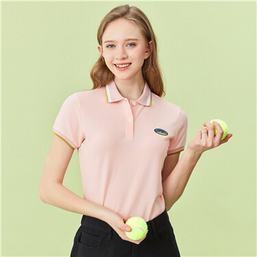 Embroidery stretchy slim polo shirt