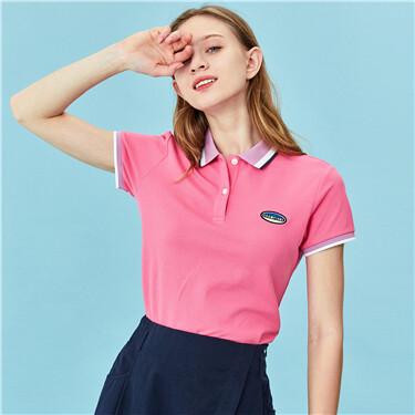 Embroidery stretchy slim polo shirt