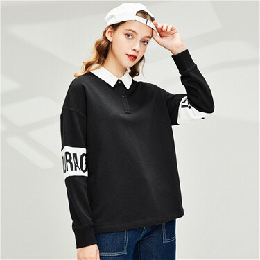 Loose contrast color letter printing long sleeve POLO
