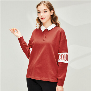 Printed letter loose contrast polo shirt