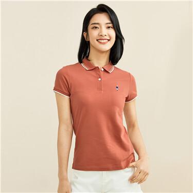 Embroidery pique short sleeves polo shirt