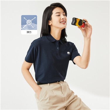 Embroidery loose stretchy polo shirt