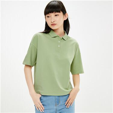 Plain loose stretchy pique polo shirt