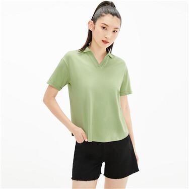 Plain v-neck pique polo shirt