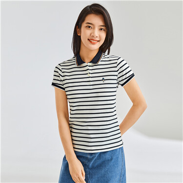 Embroidery stripe stretchy polo shirt