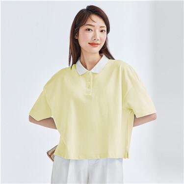 Contrast stretchy pique polo shirt