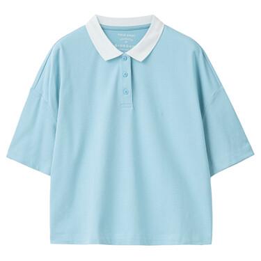 Contrast Collar Stretch Piqué Loose Short Sleeve POLO
