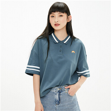 Embroidered loose fit polo shirt