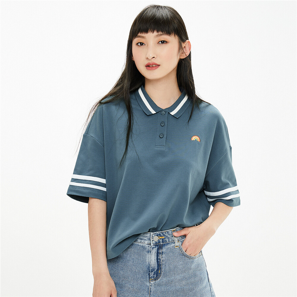 Embroidered loose fit polo shirt | GIORDANO Online Store