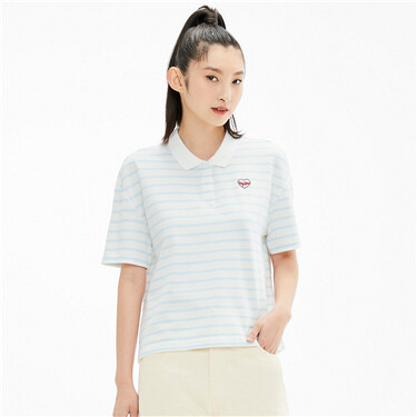 Stripe embroidered badge polo shirt