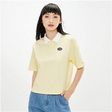 Cotton Double Faced Cloth With Embroidered patch & Contrast Collar Loose Short Sleeve POLO