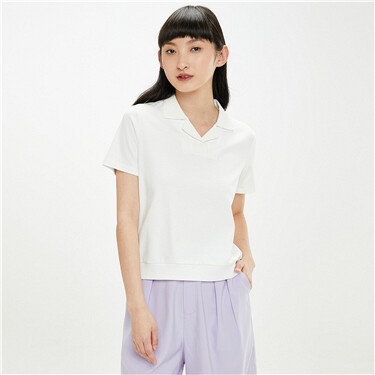 Interlock french collar polo shirt