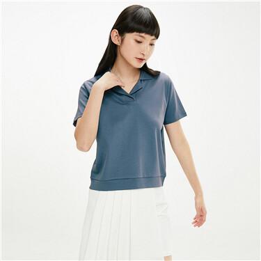 Interlock french collar polo shirt