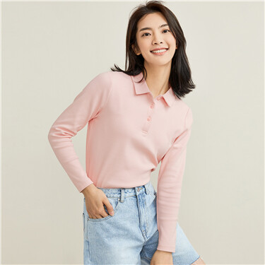 Stretchy lycra  knitted polo shirt