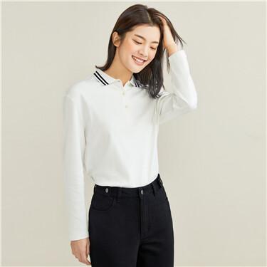 Interlock contrast long-sleeve polo shirt