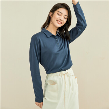 Pure cotton extravagant smooth touch slim long-sleeved POLO