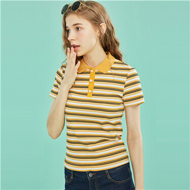Contrast color striped slim polo
