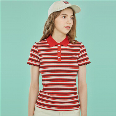 Contrast color striped slim po