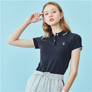 Contrast color embroidery short-sleeve polo shirt