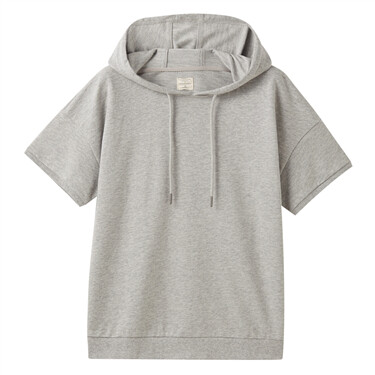 Short Sleeves Drawstring Hoodie