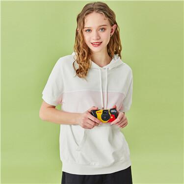 Contrast kanga pocket short-sleeve hoodie