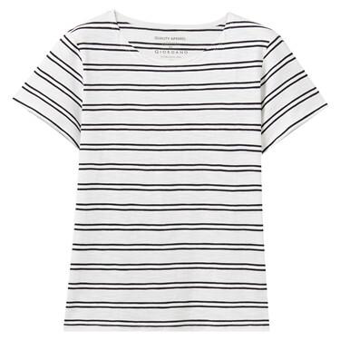 Strip bamboo cotton short-sleeve tee