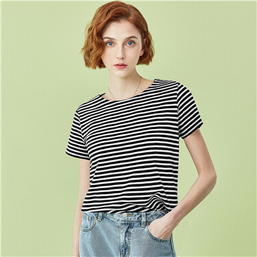Strip bamboo cotton short-sleeve tee