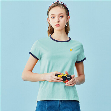 Embroidery contrast short sleeves tee