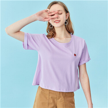 Embroidery o-neck short sleeves tee