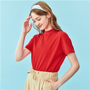 Loose mockneck short-sleeve tee
