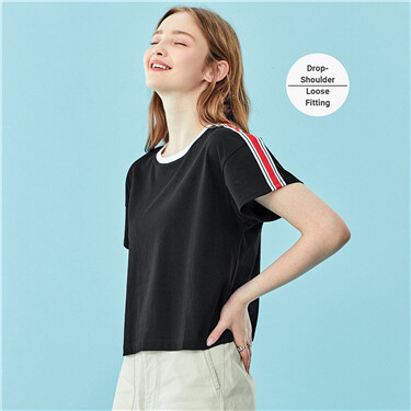 Contrast strap on shoulders crewneck tee