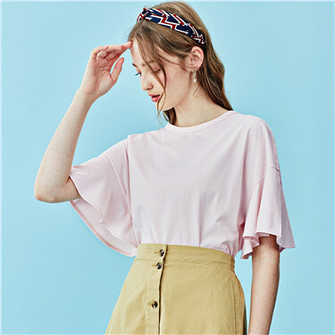Loose crewneck ruffle short sleeves tee