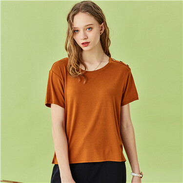 Shoulder button crewneck t-shirt