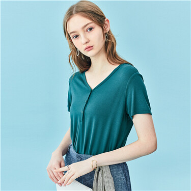 V-neck button short-sleeve tee