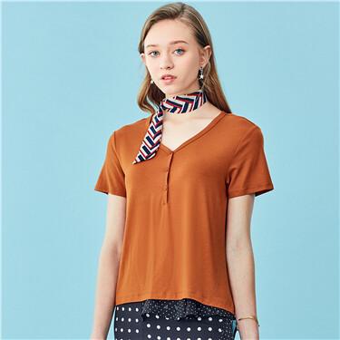 V-neck button short-sleeve tee