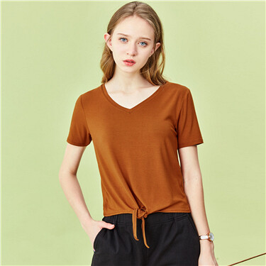 Lace-Up at Hem V-Neck T-Shirt