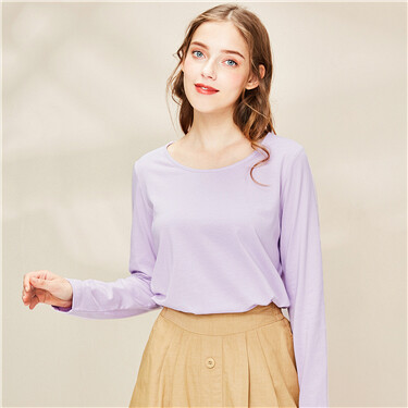 Stretchy crewneck long-sleeve tee