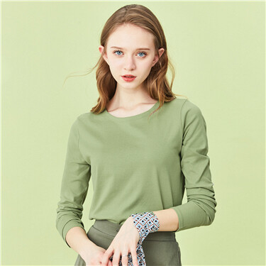 Solid long-sleeve basic tee