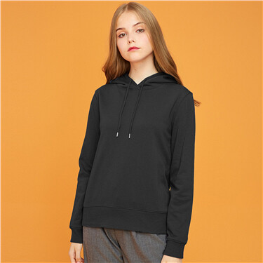 Solid design hood with drawstring hoodie