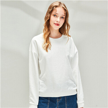 Plain Fleece-lined Crew Neck Sweatshirt