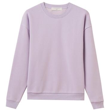 Plain Fleece-lined Crew Neck Sweatshirt