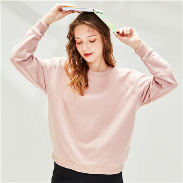Solid Color Inner Fleece Round Neck Pullover Sweater