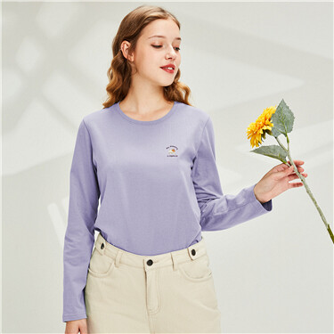 Embroidered stretchy long-sleeve tee