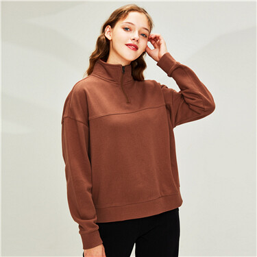Dropped-shoulder stand collar placket sweatshirt