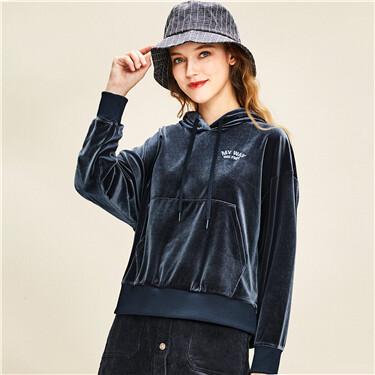 Embroidered velvet hoodie