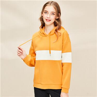 Contrast fleece-lined hoodie