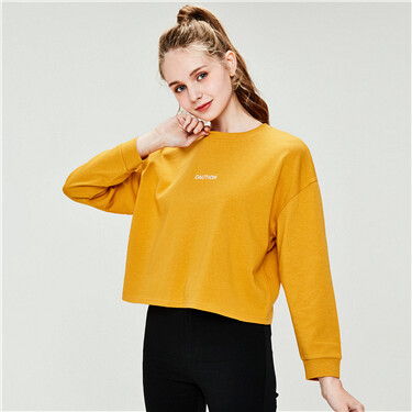 Embroidered Letter Loose Crew Neck T-Shirt