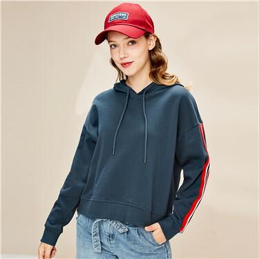 Contrast webbing dropped-shoulder hoodie