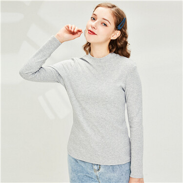 Cotton Mockneck Long Sleeve Tee