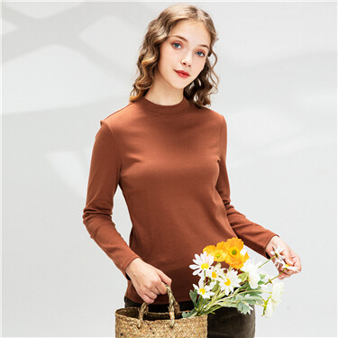 Cotton mockneck long-sleeve tee